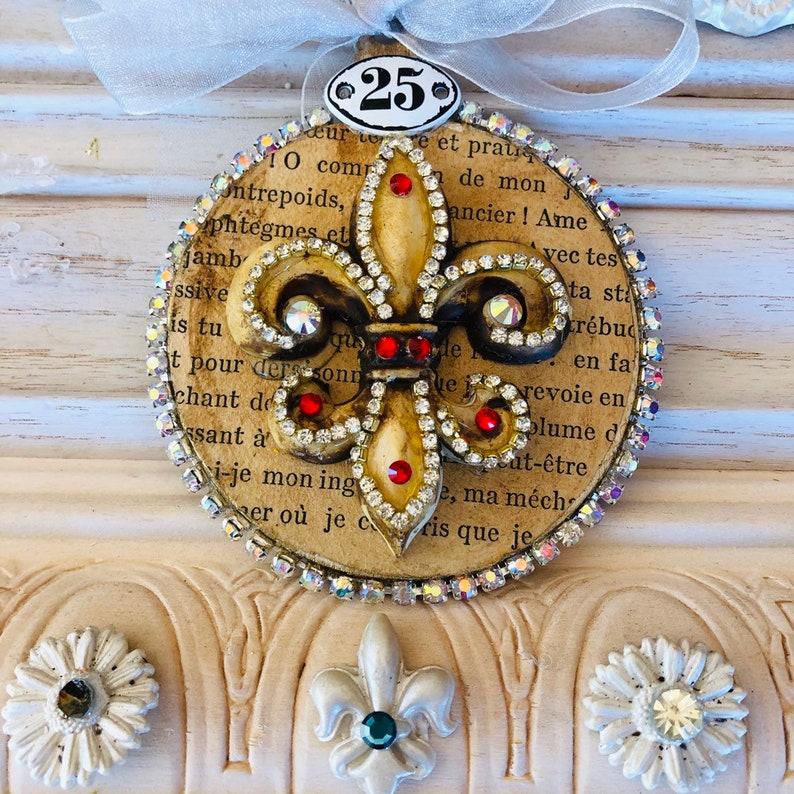 Rhinestone Fleur de lis ornament French Ornament Country French ornament Baroque Ornament Vintage ornament Old World Ornament