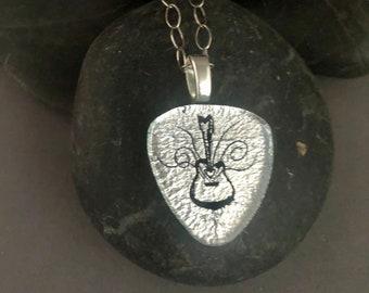 Silver Dichroic Guitar Pick Pendant
