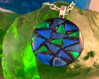 Round blue green mosaic pendant