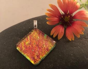 Orange/Goldish Square Diamond Dichroic Pendant
