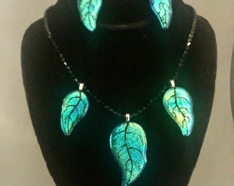 Hand Etched Green Three Leaf Dichroic Necklace with Matching Earrings