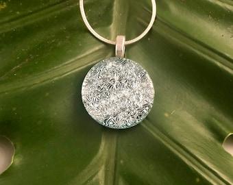Silver Crinkle Round Dichroic Pendant