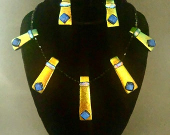 Golden/Orange and Blue 5 Piece Necklace and Matching Earrings