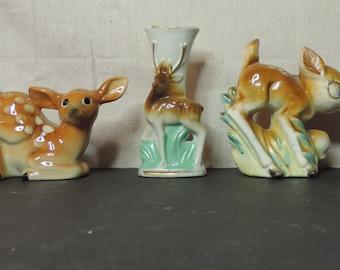 Ceramic Deer Collectibles Salt and Pepper shaker Kitchy Deer Vase Collection Deer Doe Buck Fawn Vintage Deer