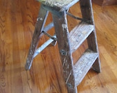 Vintage 3 Step Wood Stool Folding Step Ladder
