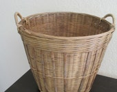 Vintage Bamboo Round Basket With Handles