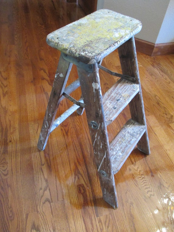 Amazing Vintage 3 Step Wood Stool Folding Step Ladder Beatyapartments Chair Design Images Beatyapartmentscom