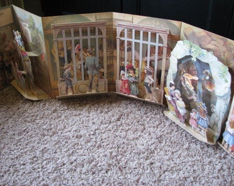 Vintage Pop Up Childrens Book - A Day In The Zoo