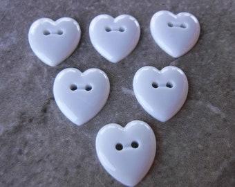 8 White Glossy Stitch Heart Medium Buttons Size 12
