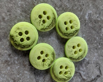 6 Handmade Lime Green Bee Buttons.