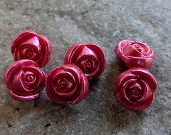 6 Vintage Clear Pink /& Burgundy Flower Buttons 18mm
