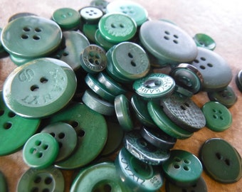 5 Forest Green Wide Flat Rim Large Round Buttons Size 1 18