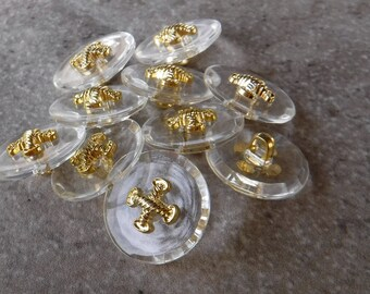 10 pack Gold metal look plastic Buttons Criss Cross Diamond Pattern 13mm 2 holes