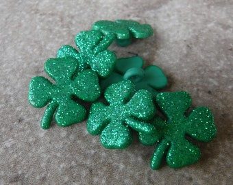 Four Leaf Clover Buttons Ireland 20mm Emerald Green Irish Shamrock Buttons