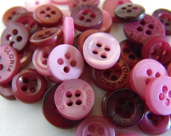 Plum Buttons, 50 Small Assorted Round Sewing Crafting Bulk Buttons