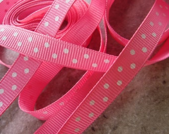 Hot Pink Double Polka Dot Grosgrain Ribbon 4 Yards