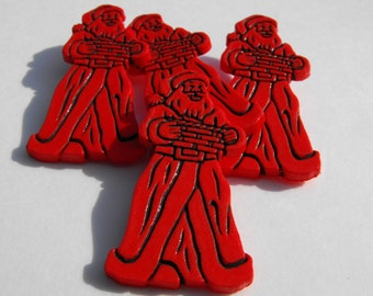10 Red St Nick Flat Back Buttons