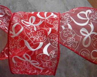 Red hearts and Bows Wire Edge Ribbon 4 Yards