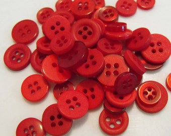 500 Fire Engine Red Small Buttons Round Multi Sizes