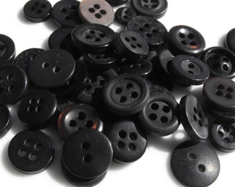 Black Buttons, 50 Small Assorted Round Sewing Crafting Bulk Buttons