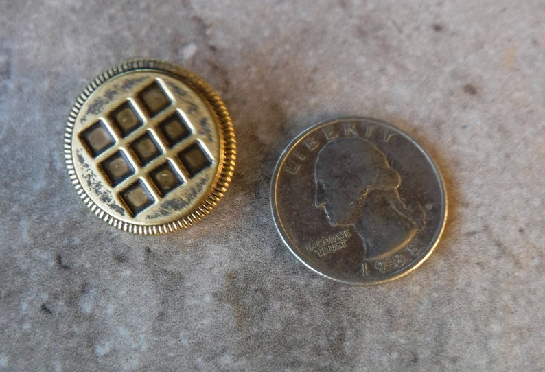 6 Antique Gold Checker Board Metal Shank Round Buttons Size 78