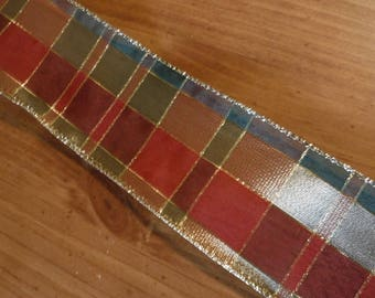 Red, Green and Gold Checkered Wire Edge Ribbon 4 Yards