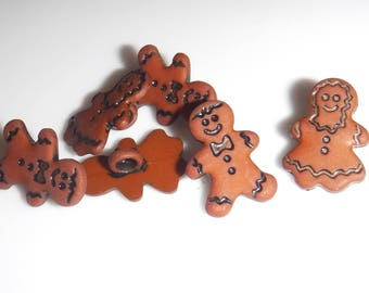 """6 Mini Gingerbread People Shank Buttons Size 1/2"""""""