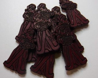 10 Burgundy St Nick Flat Back Buttons