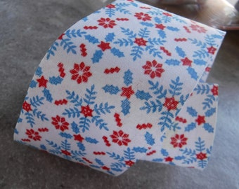 Red and Blue Snowflake Fabric Ribbon 2 Yards