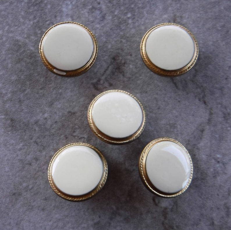 5 Vintage Gold and Cream Metal Shank Round Buttons Size 34 #305