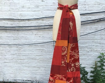 Red and Orange Autumnal Patchwork Long Wedding Sash, Asian Brocade and Silk Shantung