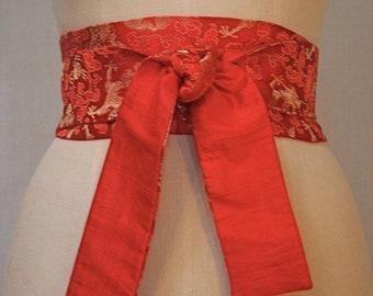 Red Dragon Brocade Obi Sash