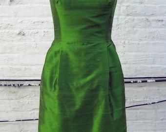 Apple Green Scooped Neckline Silk Shantung Cocktail Dress
