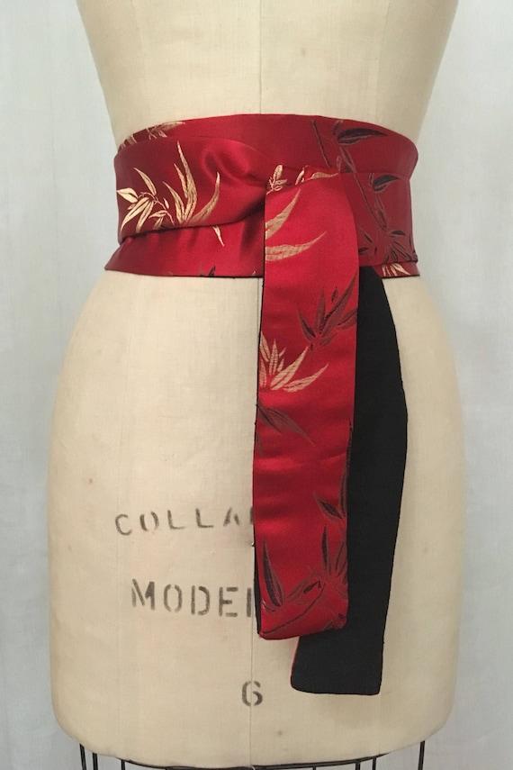 1dda9a91ec63 Bambou rouge brocart et ceinture Obi réversible Shantung de   Etsy