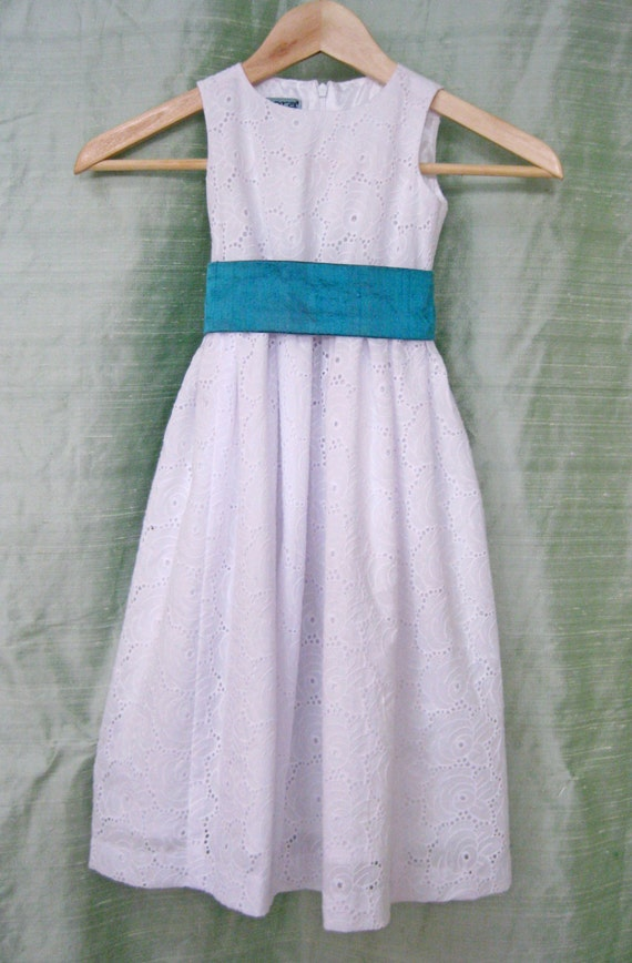 White cotton eyelet flower girl dress with turquoise sash etsy image 0 mightylinksfo