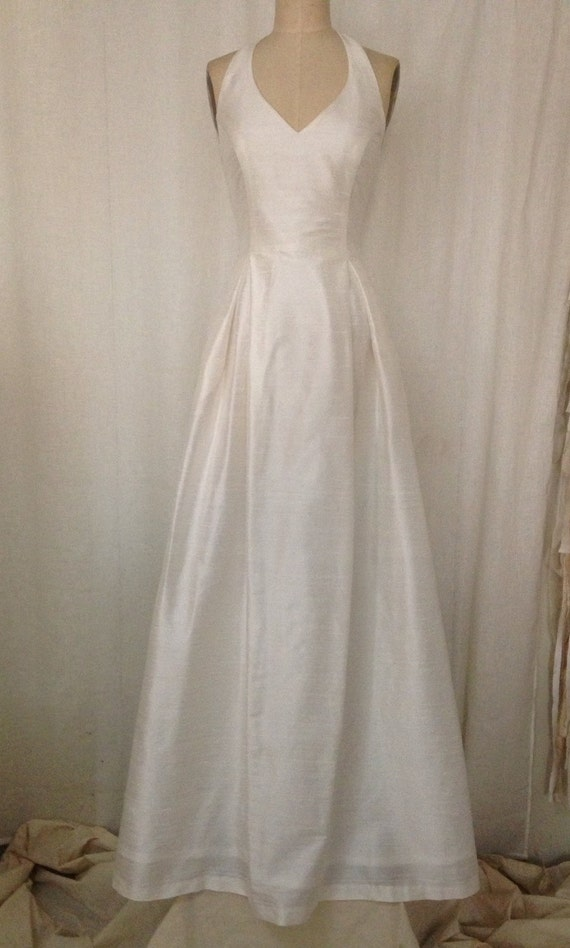 Off White Simple Halter Wedding Gown with Full A-line Skirt | Etsy