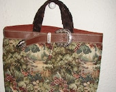 Tapestry N Leather Tote Bag Purse Handbag or Bible Bucket TWO inside pockets 1 lg 1 small Fully lined OOAK *