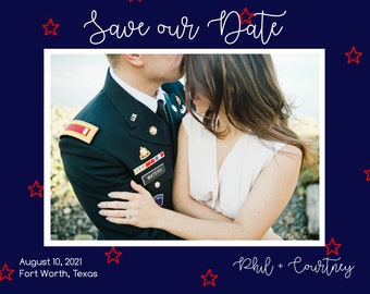 Patriotic Save the Dates, wedding save the date magnets, wedding save the date postcards, military save the dates, flag save the dates