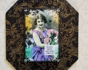 Flowers Whisper What Words Cannot Say Swirl Framed Decoupage Decorative Wall Plaque Sign Hanging