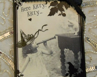 Here Kitty, Kitty! Little Girl with Cat Vintage Photo Print Wall Decor Decorative Decoupage Plaque Wall Hanging