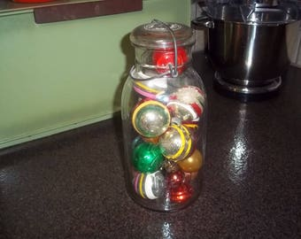 Vintage Jar of 6 Vintage Bulbs - Christmas Tree Ornaments