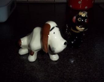 Vintage ceramic black poodle and ceramic basset hound - mid century - REDUCED PRICE!