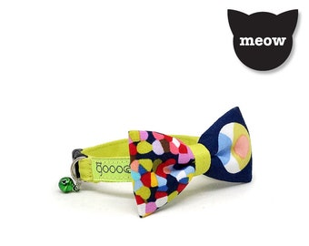 GOOOD Cat Collar | Mighty Bow - Picatsa | 100% Pattern Blue Cotton Fabric | Safety Breakaway Buckle
