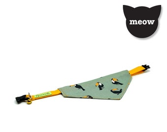 GOOOD Cat Collar | Center Scarf - Toucan Flock | 100% Green & Yellow Fabric | Safety Breakaway Buckle