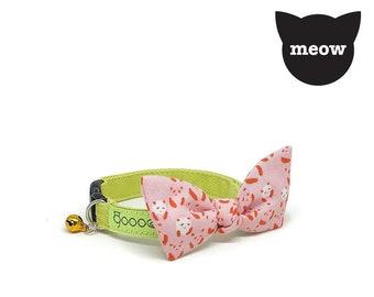GOOOD Cat Collar | Flutterfly - Panda Garden | 100% Pattern Pink Cotton Fabric | Safety Breakaway Buckle