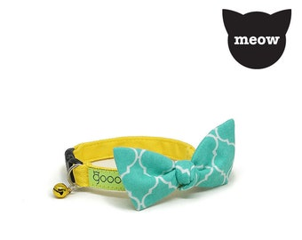 GOOOD Cat Collar | Flutterfly - Turquoisetiles | 100% Pattern Turquoise Cotton Fabric | Safety Breakaway Buckle