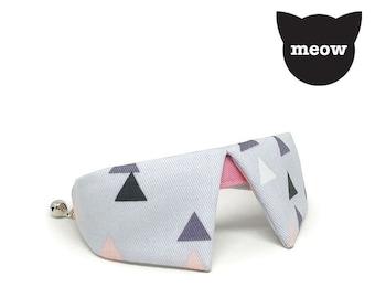 GOOOD Cat Collar | Dapper Sharp - Triangular | 100% Grey & Pink Cotton Fabric | Safety Breakaway Buckle