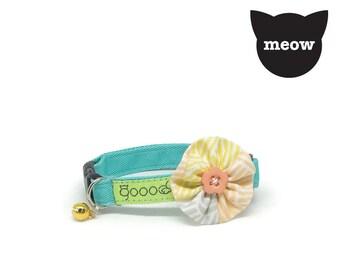 GOOOD Cat Collar | Bloomie - Dandelion | 100% Pattern Cotton Fabric | Safety Breakaway Buckle
