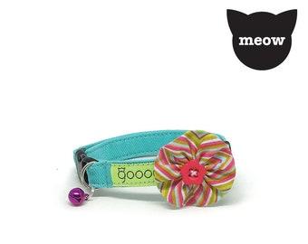 GOOOD Cat Collar | Bloomie - Colour Pop | 100% Pattern Cotton Fabric | Safety Breakaway Buckle