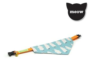 GOOOD Cat Collar | Center Scarf - Winterland | 100% Turquoise Pattern Fabric | Safety Breakaway Buckle